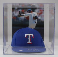 """Nolan Ryan Signed Rangers Adjustable Hat with Display Case Inscribed """"100.7 M.P.H."""" (PSA COA) at PristineAuction.com"""