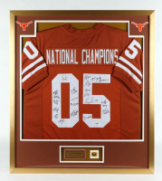 2005 National Champions 32x36 Custom Framed Jersey Team-Signed by (20) with Coach Mack Brown, Vince Young, Brian Orakpo, Jordan Shipley with 2005 Texas Longhorns Champions Pin (PSA LOA) (See Description) at PristineAuction.com