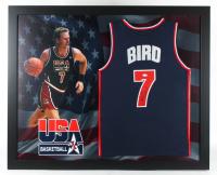 Larry Bird Signed 35.5x43.5 Custom Framed Jersey Display (JSA COA) at PristineAuction.com