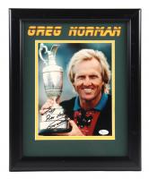 "Greg Norman Signed 14x16 Custom Framed Photo Display Inscribed ""Play Hard"" (JSA COA) (See Description) at PristineAuction.com"