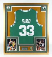 Larry Bird Signed Celtics 32x36 Custom Framed Jersey Display (PSA COA) at PristineAuction.com