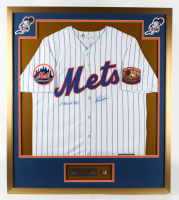"""Nolan Ryan Signed 32x36 Custom Framed Jersey Display Inscribed """"'69 Miracle Mets"""" with 324 Wins Commemorative Pin (PSA COA) at PristineAuction.com"""