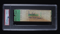 """Jerry West Signed 1972 NBA Playoffs Lakers Game Ticket Inscribed """"NBA World Champions"""" (PSA Encapsulated) at PristineAuction.com"""