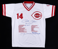 "Pete Rose Signed LE Career Highlight Stat Jersey Inscribed ""Hit King"", ""4,256"", & ""Charlie Hustle"" (JSA COA & Beckett COA) at PristineAuction.com"