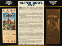 Super Bowl XXX Commemorative Scorecard with 22kt Gold Ticket at PristineAuction.com