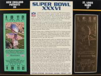 Super Bowl XXXVI Commemorative Scorecard with 22kt Gold Ticket at PristineAuction.com