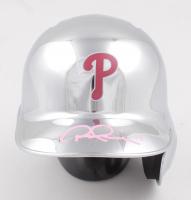 Rhys Hoskins Signed Phillies Chrome Mini Batting Helmet (Beckett COA) (See Description) at PristineAuction.com
