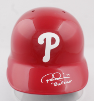 """Rhys Hoskins Signed Phillies Full-Size Authentic On-Field Batting Helmet Inscribed """"Big Fella"""" (Beckett COA) (See Description) at PristineAuction.com"""