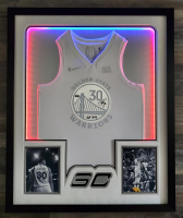 """Stephen Curry Signed Warriors 35x42 Custom Framed Jersey Display Inscribed """"Chef Curry"""" (JSA COA & Curry COA) at PristineAuction.com"""