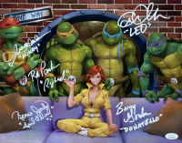 """""""Teenage Mutant Ninja Turtles"""" 11x14 Photo Signed by (5) with Cam Clarke, Barry Gordon, Rob Paulsen & Townsend Coleman with Character Name Inscriptions (JSA COA) at PristineAuction.com"""