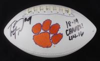 "Travis Etienne Signed Clemson Tigers Logo Football Inscribed ""18-19 Champs!"" & ""44-16"" (JSA COA) (See Description) at PristineAuction.com"