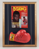 Mike Tyson Signed 16.5x22 Custom Framed Boxing Glove Display with Magazine (PSA COA) at PristineAuction.com