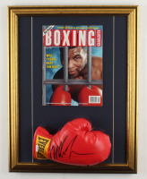 Mike Tyson Signed 18x23 Custom Framed Everlast Boxing Glove Display With Full 1992 Boxing Illustrated Magazine (PSA COA) at PristineAuction.com