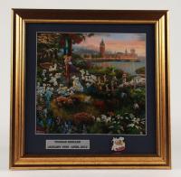 "Thomas Kinkade Walt Disney's ""101 Dalmatians"" 16.5x16.5 Custom Framed Print Display with Vintage 101 Dalmatians Pin at PristineAuction.com"