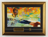 """LeRoy Neiman """"Roberto Clemente"""" 16x20 Custom Framed Art Print Display With a Pirates Roberto Clemente Tribute Pin at PristineAuction.com"""