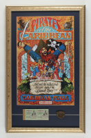 """Walt Disney World """"Pirates of the Caribbean"""" 14.5x24 Custom Framed Display with Vintage Ticket Book & Brass Ride Pin at PristineAuction.com"""