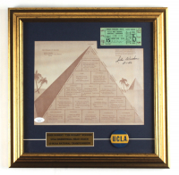 """John Wooden Signed UCLA Bruins """"The Pyramid of Success"""" 16x16 Custom Framed Photo Display Inscribed """"5-1-86"""" with Original Vintage UCLA Lapel Pin & NCAA Tournament Game Ticket (JSA COA) at PristineAuction.com"""