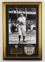 """George Herman """"Babe"""" Ruth 16x23 Custom Framed Print Display With an Old Yankee Stadium Official Patch & Pin at PristineAuction.com"""
