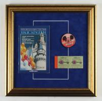 Walt Disney World 16x16 Custom Framed Vintage Map, Ticket Book and Souvenir Vari-vue 'I Like Disney World' Blinker Pin at PristineAuction.com