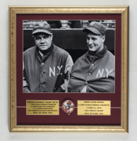 Babe Ruth & Lou Gehrig 17x18 Framed Photo Display with Yankees Pin at PristineAuction.com