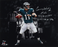"""Carson Wentz Signed Eagles LE 16x20 Photo Inscribed """"1st Win,"""" """"9/11/16 Vs. Clev"""" & """"22-37 278 Yds 2 TDs"""" (Fanatics Hologram) at PristineAuction.com"""