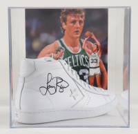 Larry Bird Signed Converse All-Star Leather Basketball Shoe with Photo Display Case (PSA COA) at PristineAuction.com