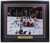 """""""Miracle on Ice"""" 22x27 Custom Framed Photo Display Signed by (15) with Neal Broten, Ken Morrow, Mike Eruzione, Jim Craig, Buzz Schneider, Rob McClanahan Inscribed """"1980 Gold!"""" (Beckett LOA) at PristineAuction.com"""