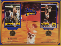 John Wooden & Bill Walton Signed UCLA Bruins Dual-Postcard Display with Commemorative Coins (Beckett LOA) (See Description) at PristineAuction.com