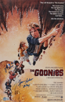 """Sean Astin & Jeff Cohen Signed """"The Goonies"""" 11x17 Movie Poster Print Inscribed """"Mikey"""" & """"Chunk"""" (Beckett COA) at PristineAuction.com"""