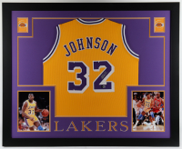 Magic Johnson Signed 35.5x43.5 Custom Framed Jersey Display (Beckett Hologram) (See Description) at PristineAuction.com