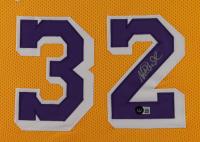 Magic Johnson Signed 35.5x43.5 Custom Framed Jersey Display (Beckett Hologram) at PristineAuction.com