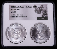 2021 American Silver Eagle $1 One Dollar Coin Type 2 & Type 1 - 2-Coin Holder Set (NGC MS69) at PristineAuction.com