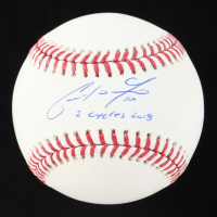 """Christian Yelich Signed OML Baseball Inscribed """"2 Cycles 2018"""" (Steiner Hologram) at PristineAuction.com"""