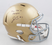 """Jack Coan Signed Notre Dame Fighting Irish Full-Size Speed Helmet Inscribed """"Play like a champion"""" (JSA COA) (See Description) at PristineAuction.com"""