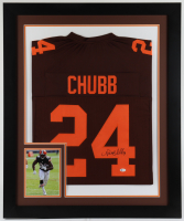 Nick Chubb Signed 29.5x35.5 Custom Framed Jersey Display (Beckett Hologram) at PristineAuction.com