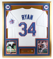 Nolan Ryan Signed 32x36 Custom Framed Jersey Display with Multiple Inscriptions & HOF Induction Pin (PSA COA) (See Description) at PristineAuction.com