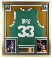 Larry Bird Signed 32x36 Custom Framed Jersey Display with Basketball Hall Of Fame Pin (PSA COA) (See Description) at PristineAuction.com