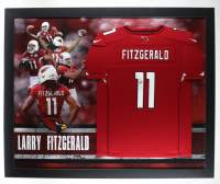 Larry Fitzgerald Signed Cardinals 35.5x43.5 Custom Framed Jersey Display (JSA COA) (See Description) at PristineAuction.com