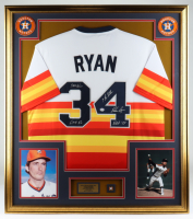 Nolan Ryan Signed 32x36 Custom Framed Jersey Display with Multiple Inscriptions & a 1999 Official HOF Induction Pin (PSA COA) at PristineAuction.com
