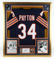 Walter Payton Signed 32x36 Custom Framed Cut Display with 1985 Original Super Bowl XX Pin (PSA Encapsulated) at PristineAuction.com
