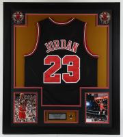 Michael Jordan 33.5x37.75 Custom Framed Jersey Display at PristineAuction.com