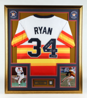 """Nolan Ryan Signed 32x36 Custom Framed Jersey Display Inscribed """"All Time K King"""" & """"5,714 K's"""" with Hall of Fame Induction Pin (PSA COA) at PristineAuction.com"""