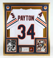 Walter Payton Signed 32x36 Custom Framed Cut Display with 1970s Bears Original Lapel Pin (PSA Encapsulated) at PristineAuction.com