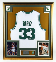 Larry Bird Signed 32x36 Custom Framed Jersey Display with Celtics Championships Pin (PSA COA) at PristineAuction.com