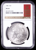 1886 Morgan Silver Dollar - Red Book Label (NGC MS64) at PristineAuction.com