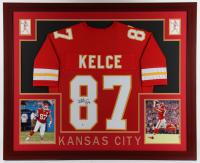 Travis Kelce Signed 35.5x43.5 Custom Framed Jersey Display (Beckett Hologram) at PristineAuction.com