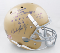 """Rudy Ruettiger Signed Notre Dame Fighting Irish Full-Size Helmet Inscribed """"The Play"""" & """"11-8-75, ND 24, GT 3"""" with Hand-Drawn Diagram (Beckett COA) at PristineAuction.com"""