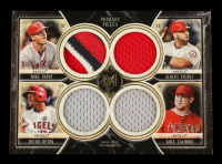 2018 Topps Museum Collection Primary Pieces Four Player Quad Relics Gold #FPQRLAA Albert Pujols / Justin Upton / Kole Calhoun / Mike Trout #25/25 at PristineAuction.com