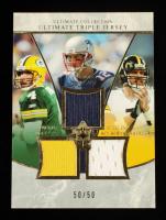 Brett Favre / Tom Brady / Ben Roethlisberger 2006 Ultimate Collection Jerseys Triple #FBR #50/50 at PristineAuction.com
