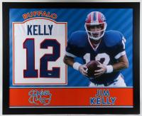Jim Kelly Signed 35x43 Custom Framed Jersey Display (JSA Hologram) (See Description) at PristineAuction.com